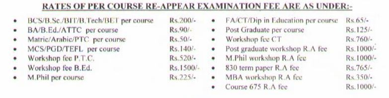 Rates of per course examination re-appear fee.