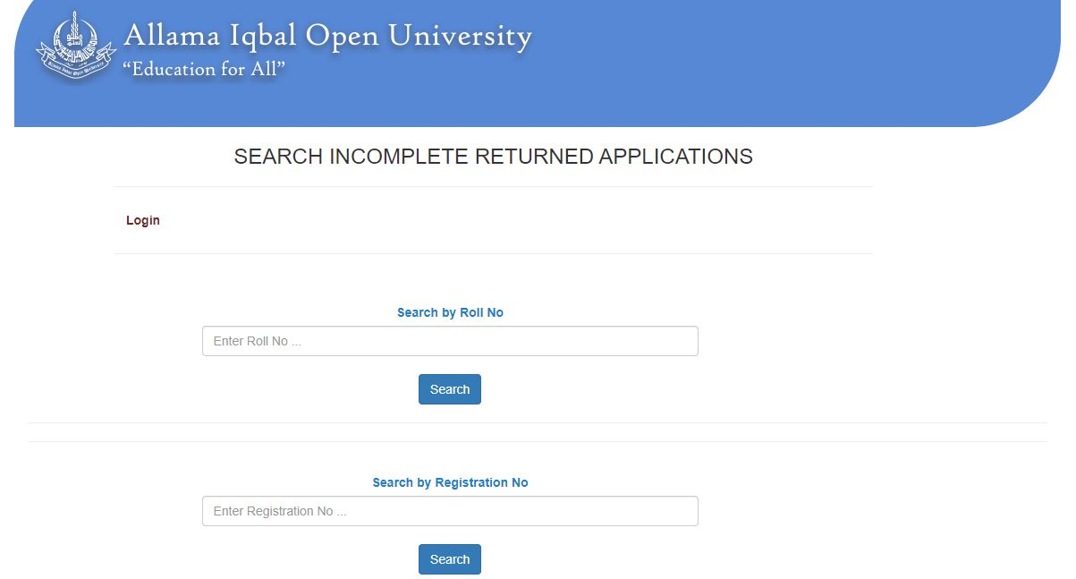 Track incomplete or returned applications online for AIOU.