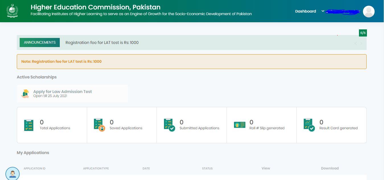 HEC Law Admission Test (LAT) online registration portal